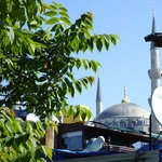 A view of the Blue Mosque from the terrace shows just how close this hotel is.