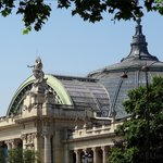 In this photo you can see the glass and steel roof which is part of the Grand Palais, which is t