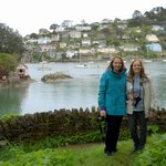 The sisters from Utah at Dartmouth, with the River Dart behind