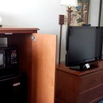 Micro, Fridge and large flat screen TV with nice channel selection