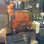 The fresh orange juice squeeze machine