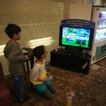 My niece enjoying playing games at the lobby area