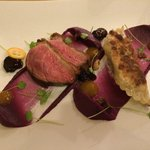 Duck Breast & Wonton, red cabbage puree, cherries, curry
