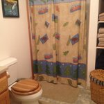 Very clean rest room with all the necessary amenities