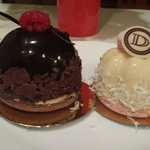 Belgian Chocolate Mousse Cake and Panna Cotta, Berry and Macaroon