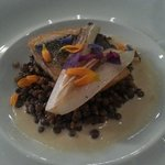 Sea bass with lentils and endives