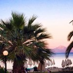 Purple sunset over Athos-restaurant view