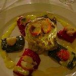 Vegetable Vol au vent with red lobster & saffron sauce