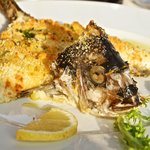 Bream stuffed with prawns and serve din lemn and orange breadcrumbs