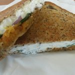 Mouthwatering goats cheese toastie with carrot chutney, red onion and spinach