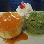 Mango cheesecakes with green tea icecream. Yummy