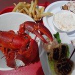 Lobster roll & 1 1/4 lbs lobster w/ fries & cole slaw