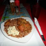 Dinner - Chicken, rice & beans, plantain and coleslaw