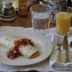 Breakfast burrito with homemade salsa (all organic)