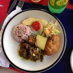 Oxtail (w/rice & peas, yellow yam, festival, roasted breadfruit and side of salad)