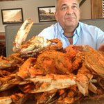 My hubby enjoying the crabs