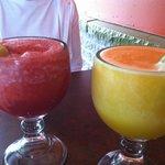 Raspberry and Mango margaritas