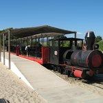 The miniature train to Barril Beach from Pedras del Rei