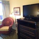 TV and vanity in bedroom