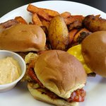 St. Lucian Sliders (1 Bacon Cheeseburger, 1 Jerk Chicken, 1 Crab Cake)