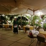 The patio ready for our gala dinner