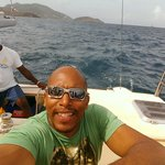 Options....cat anchored off the beach....Mr Lennox offers day trips and snorkeling off st Kitts