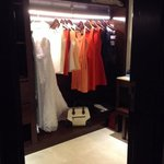 awesome walk in closet with vanity, safe & motion lights