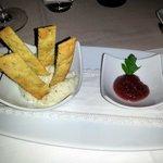 baccalà mantecato con confettura di cipolle rosse