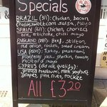 The specials are so tasty and change every month; June = World Cup specials