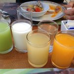 Large juice selection for breakfast daily at the Cinnamon Restaurant.