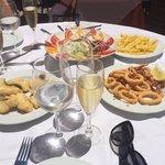 Cava, shrimp, cod, salad, chips & beautiful sunshine!