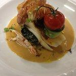 Roasted halibut with langoustine