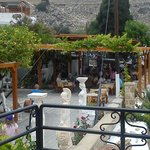 View of the Resturant from the road, the seating area over looks the bay of Lindos