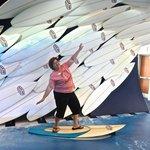 Surfing in the Ron Jon's exhibit