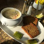 seafood chowder with brown bread