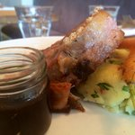Lamb shoulder with mash and carrots.