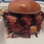 Brisket sandwich was piled high