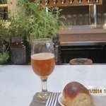 Artisan beer with freshly baked Parker House roll