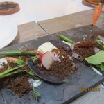 """Spring Crudite snack; the """"dirt"""" on top the baby vegetables is ground pumpernickel toast!"""