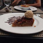 Pecan desert! Butterscotch ice cream and chocolate decoration