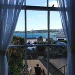 First floor bedroom view of Penzance harbor