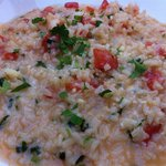 Shrimp risotto w/cilantro, tomatoes, and nicely sized shrimp.  Nice, creamy sauce.  Very tasty!
