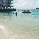 the beach and swim platform