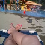 relaxing by the kiddie water park