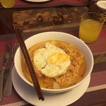 Instant Noodles, egg, bacon and onion for breakfast. Hotel accommodation is inclusive of breakfa