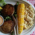 Crab cake platter with rice pilaf