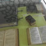 interesting Bible collection under glass inside the church