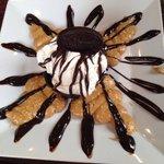 Dark chocolate peanut butter crunch sundae.