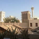 View of the wind towers and local mosques in Bastakiya from the hotel.