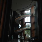 Spiral staircase in the lobby.